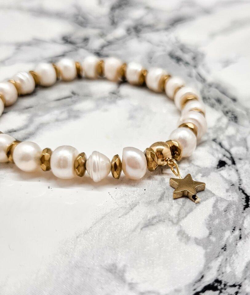 Hematito ir perlų apyrankė
