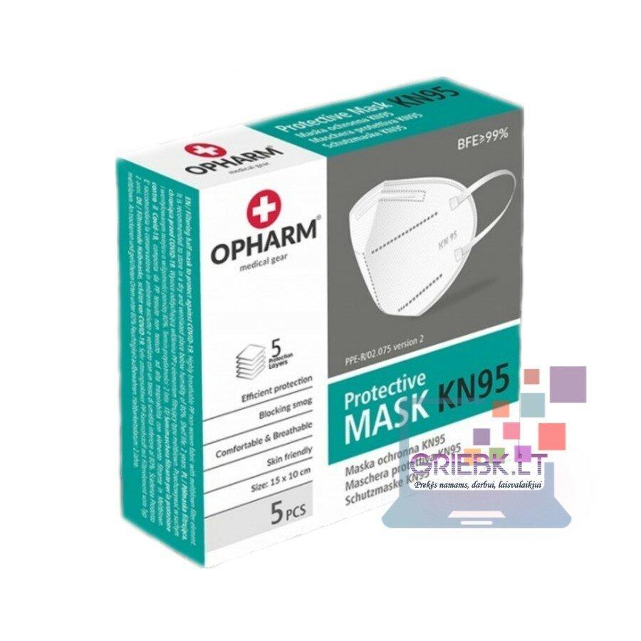Respiratoriai OPHARM Protective KN95/FFP2, 5 sluoksnių, 5 vnt.